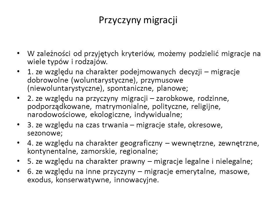 Przyczyny migracji W zależności od przyjętych kryteriów, możemy podzielić migracje na wiele typów i rodzajów.