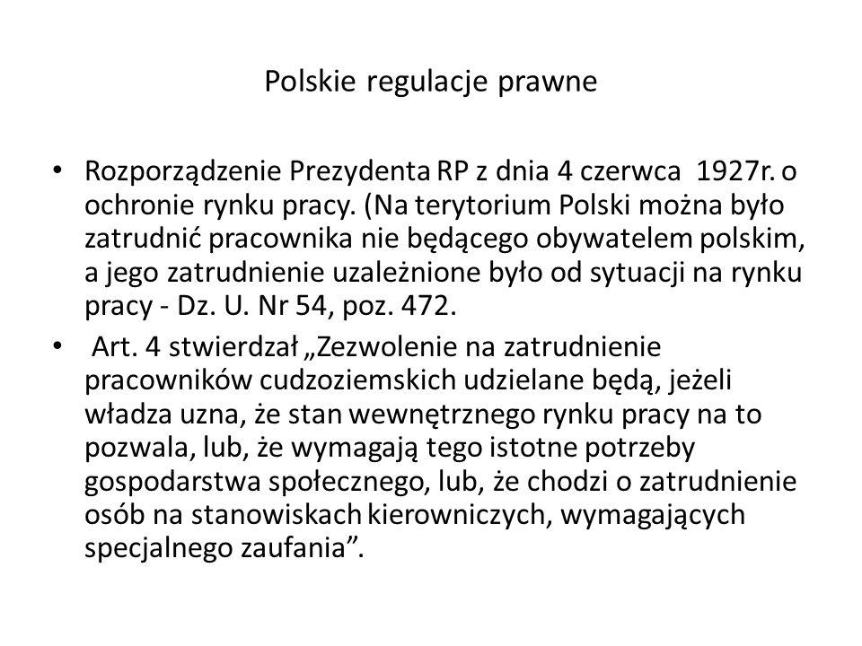 Polskie regulacje prawne Rozporządzenie Prezydenta RP z dnia 4 czerwca 1927r.