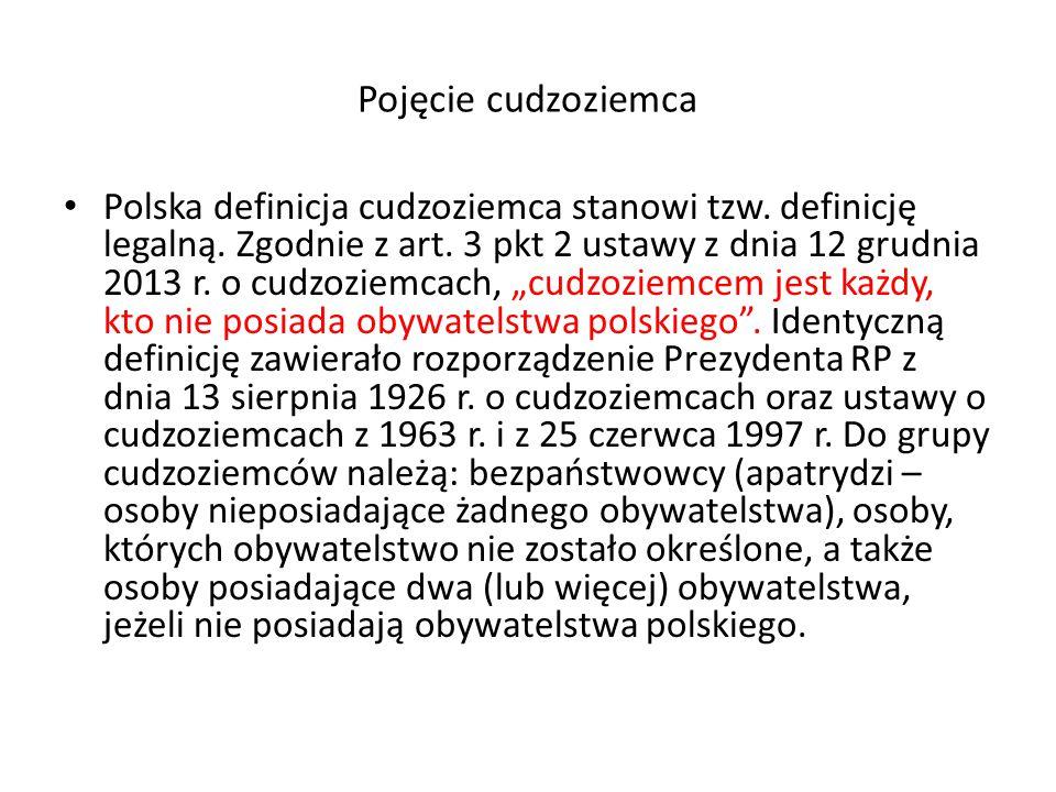 Pojęcie cudzoziemca Polska definicja cudzoziemca stanowi tzw.