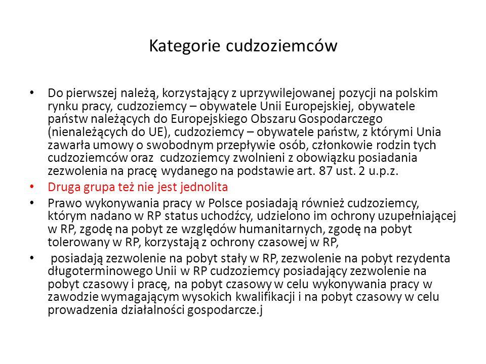 Kategorie cudzoziemców Do pierwszej należą, korzystający z uprzywilejowanej pozycji na polskim rynku pracy, cudzoziemcy – obywatele Unii Europejskiej, obywatele państw należących do Europejskiego Obszaru Gospodarczego (nienależących do UE), cudzoziemcy – obywatele państw, z którymi Unia zawarła umowy o swobodnym przepływie osób, członkowie rodzin tych cudzoziemców oraz cudzoziemcy zwolnieni z obowiązku posiadania zezwolenia na pracę wydanego na podstawie art.