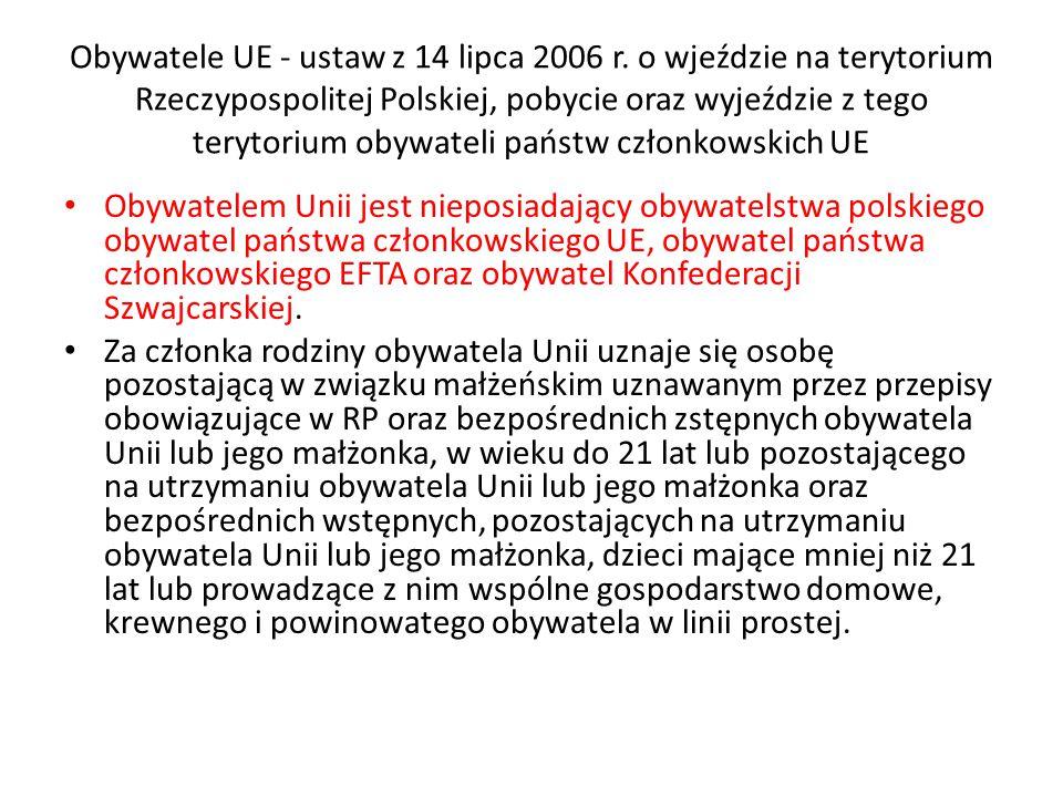 Obywatele UE - ustaw z 14 lipca 2006 r.