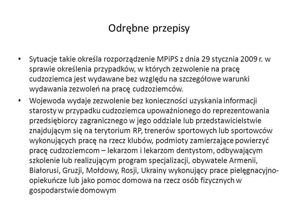 Odrębne przepisy Sytuacje takie określa rozporządzenie MPiPS z dnia 29 stycznia 2009 r.