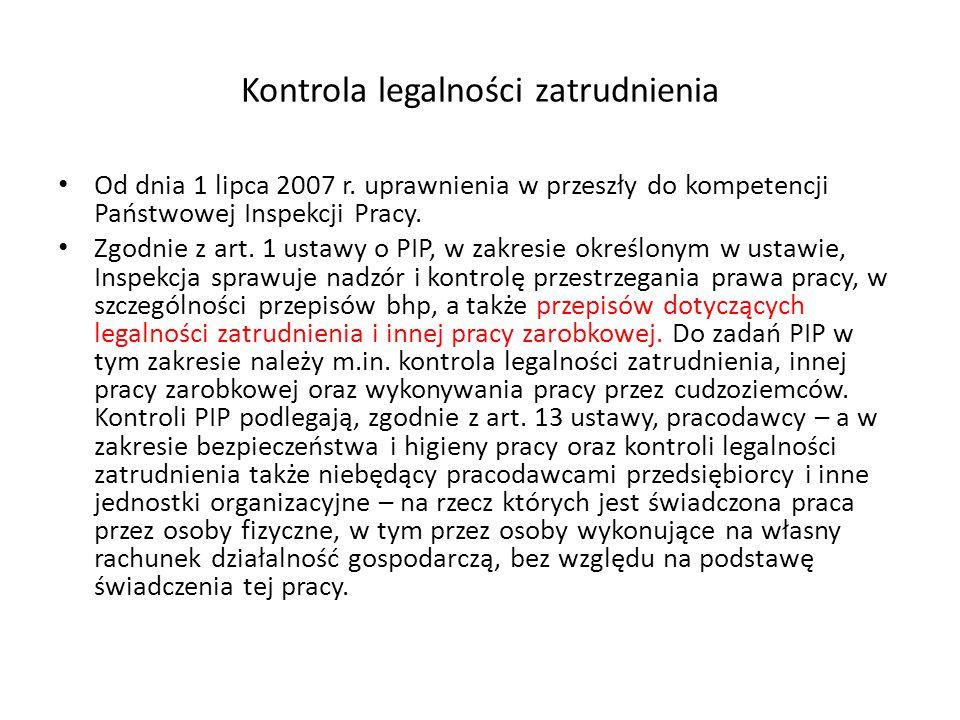 Kontrola legalności zatrudnienia Od dnia 1 lipca 2007 r.