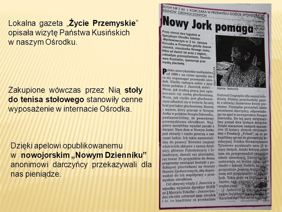 """Zakupione wówczas przez Nią stoły do tenisa stołowego stanowiły cenne wyposażenie w internacie Ośrodka. Lokalna gazeta """"Życie Przemyskie"""" opisała wizy"""