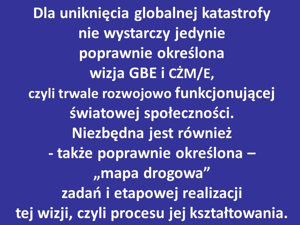 Dla uniknięcia globalnej katastrofy nie wystarczy jedynie poprawnie określona wizja GBE i CŻM/E, czyli trwale rozwojowo funkcjonującej światowej społeczności.