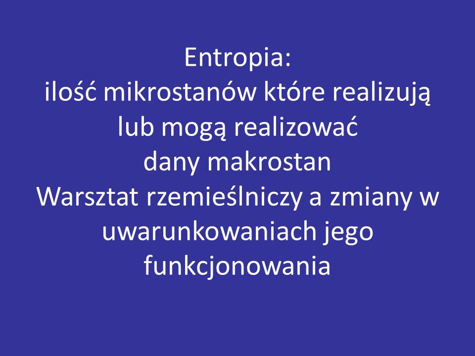 Entropia: ilość mikrostanów które realizują lub mogą realizować dany makrostan Warsztat rzemieślniczy a zmiany w uwarunkowaniach jego funkcjonowania