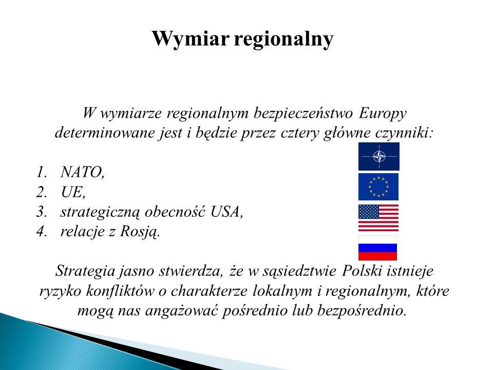 Wymiar regionalny W wymiarze regionalnym bezpieczeństwo Europy determinowane jest i będzie przez cztery główne czynniki: 1.NATO, 2.UE, 3.strategiczną