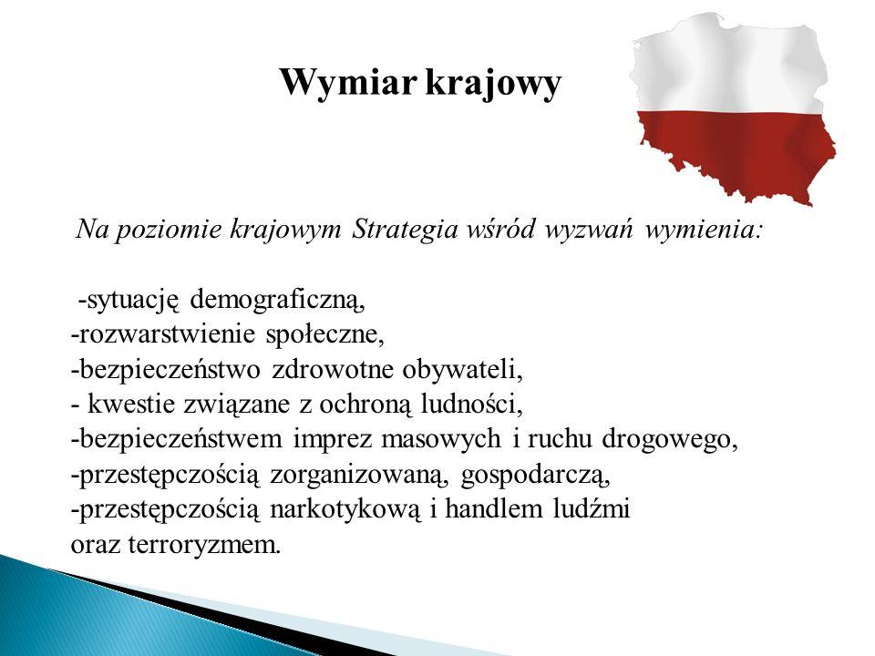 Wymiar krajowy Na poziomie krajowym Strategia wśród wyzwań wymienia: -sytuację demograficzną, -rozwarstwienie społeczne, -bezpieczeństwo zdrowotne oby