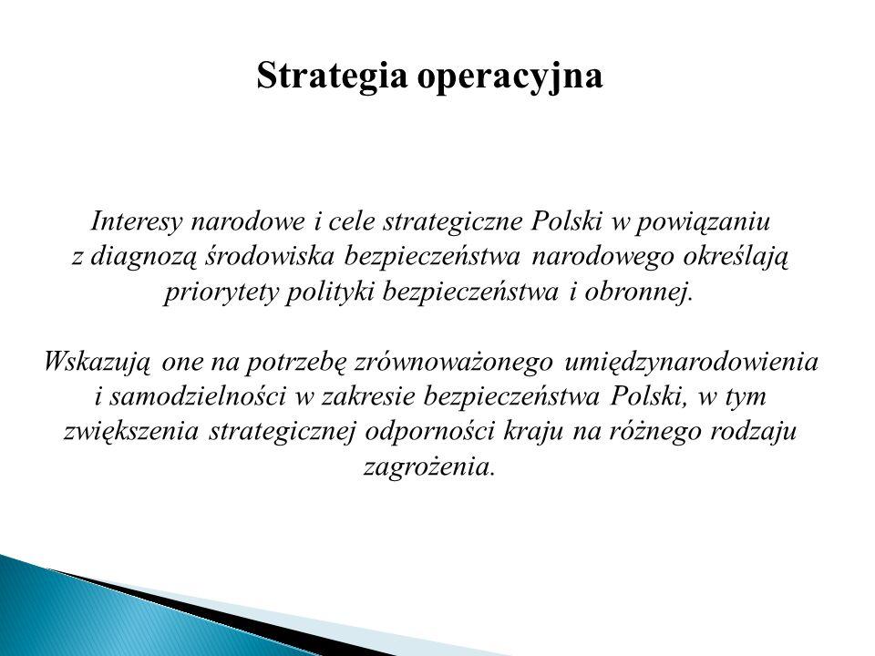 Strategia operacyjna Interesy narodowe i cele strategiczne Polski w powiązaniu z diagnozą środowiska bezpieczeństwa narodowego określają priorytety po