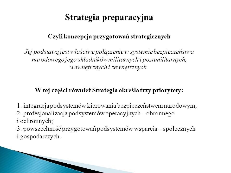 Strategia preparacyjna Czyli koncepcja przygotowań strategicznych Jej podstawą jest właściwe połączenie w systemie bezpieczeństwa narodowego jego skła