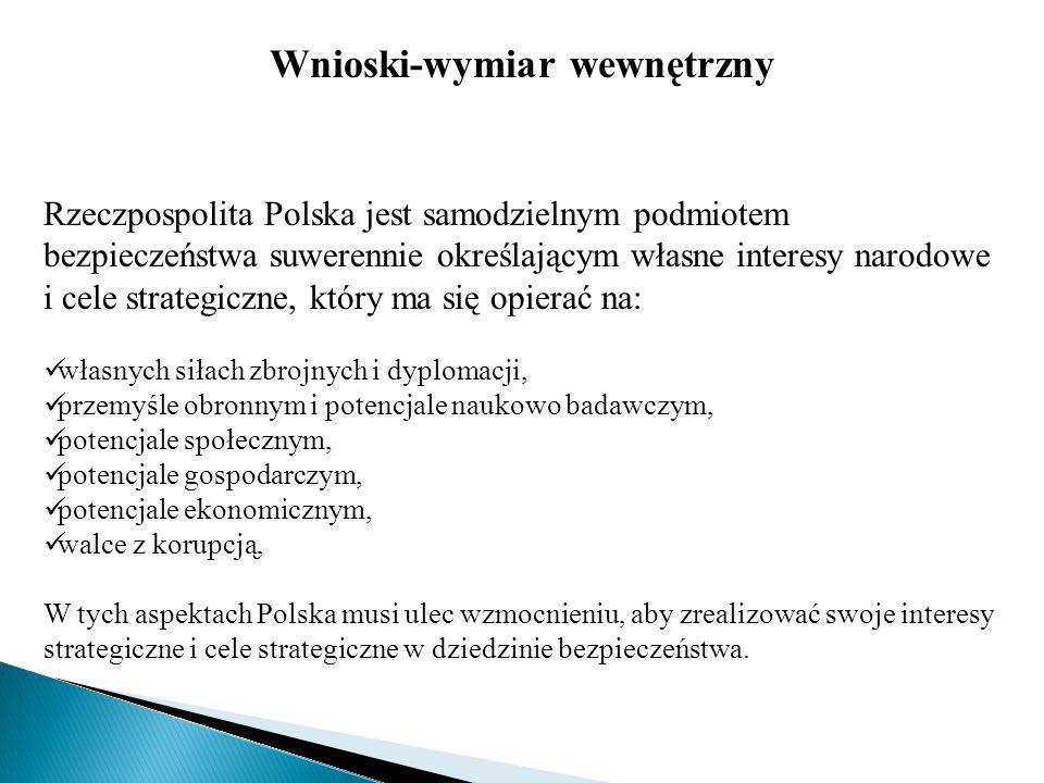 Wnioski-wymiar wewnętrzny Rzeczpospolita Polska jest samodzielnym podmiotem bezpieczeństwa suwerennie określającym własne interesy narodowe i cele str