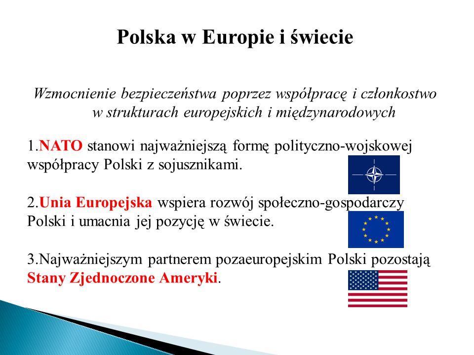 Polska w Europie i świecie Wzmocnienie bezpieczeństwa poprzez współpracę i członkostwo w strukturach europejskich i międzynarodowych 1.NATO stanowi na