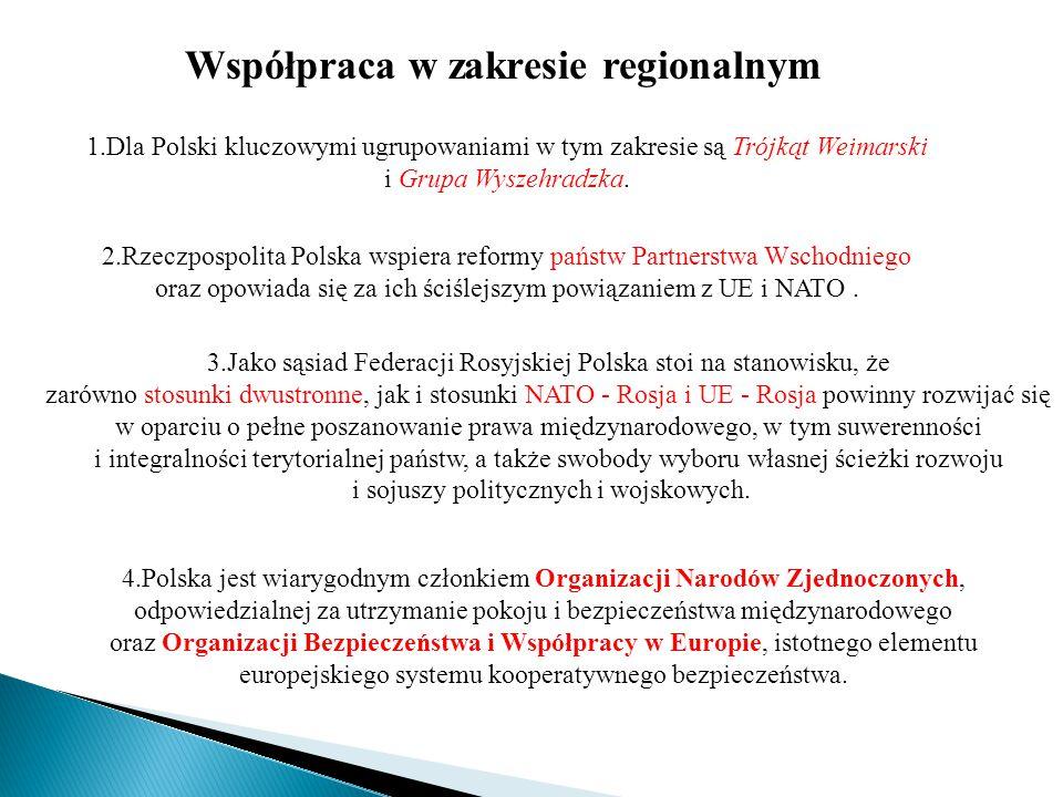 Współpraca w zakresie regionalnym 1.Dla Polski kluczowymi ugrupowaniami w tym zakresie są Trójkąt Weimarski i Grupa Wyszehradzka. 2.Rzeczpospolita Pol