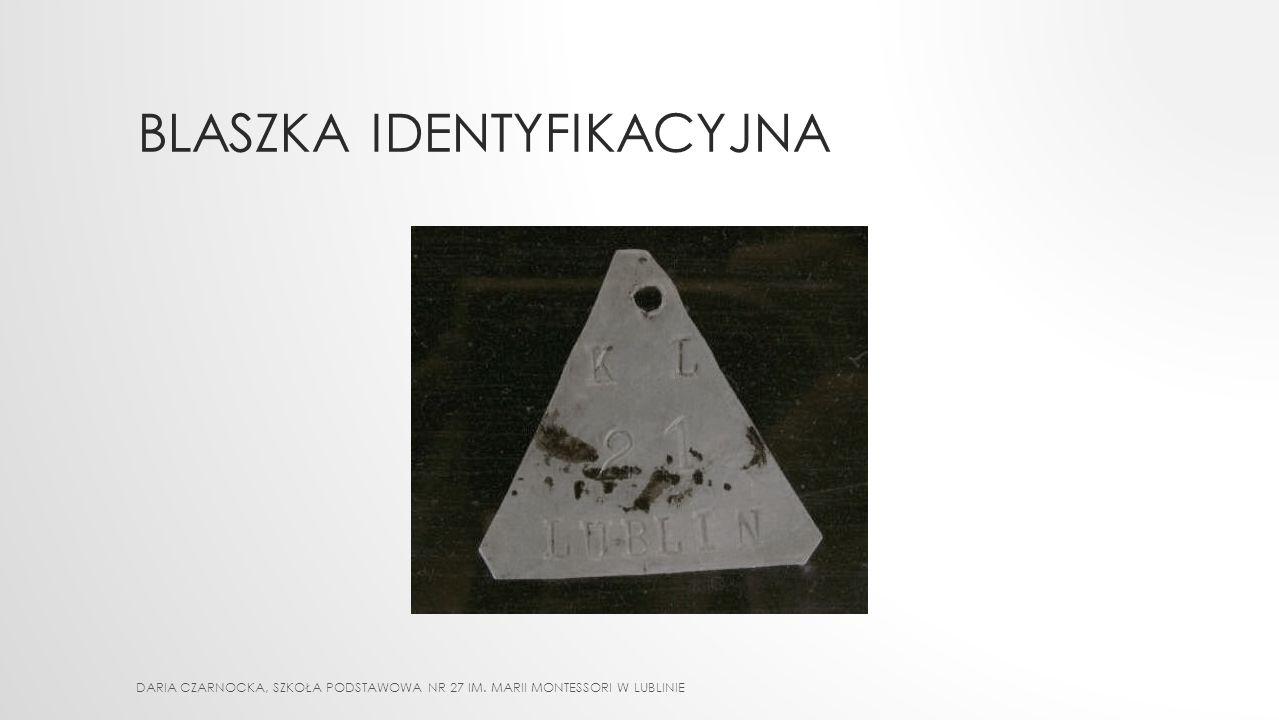 OZNACZENIA WIĘŹNIÓW Pod numerem więzień był zobowiązany do noszenia trójkąta (winkla) - będącego odzwierciedleniem kategorii do jakiej został przydzie