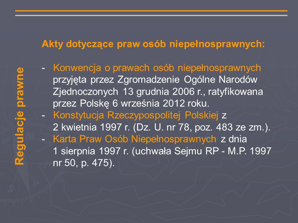 Akty dotyczące praw osób niepełnosprawnych: - Konwencja o prawach osób niepełnosprawnych przyjęta przez Zgromadzenie Ogólne Narodów Zjednoczonych 13 grudnia 2006 r., ratyfikowana przez Polskę 6 września 2012 roku.