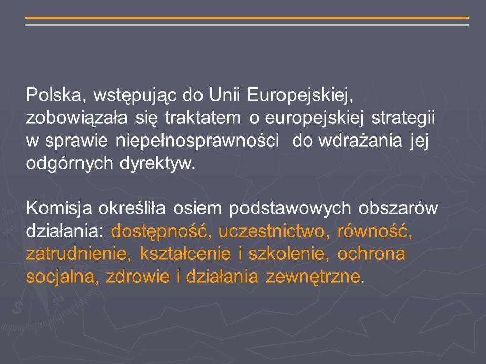 Polska, wstępując do Unii Europejskiej, zobowiązała się traktatem o europejskiej strategii w sprawie niepełnosprawności do wdrażania jej odgórnych dyrektyw.