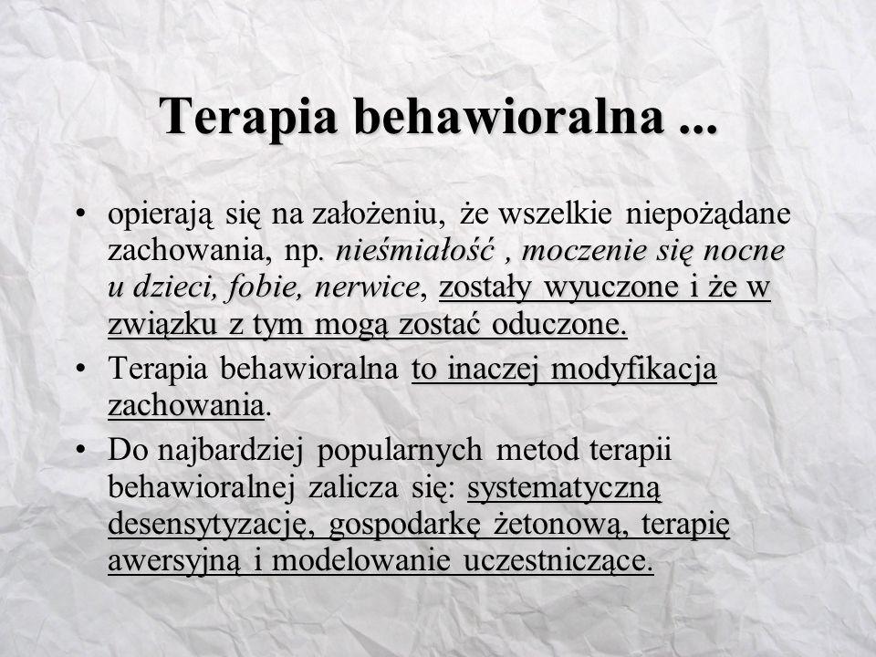 Terapie behawioralne oparte na uwarunkowaniu sprawczym Ekonomia żetonowaEkonomia żetonowa to forma terapii, często stosowana wobec grup, np.