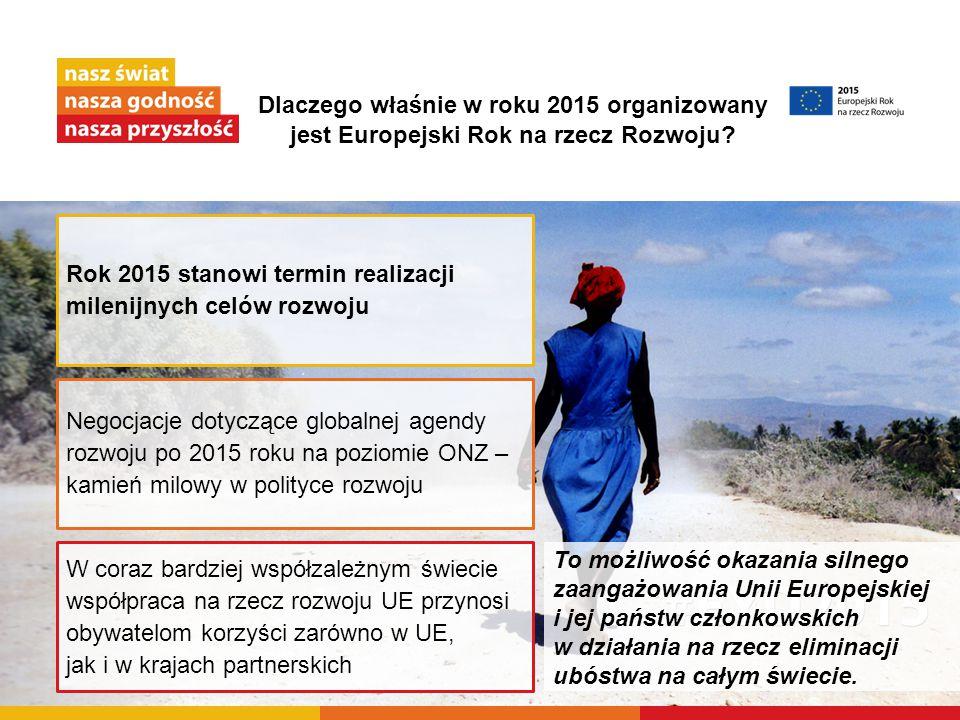 Dlaczego właśnie w roku 2015 organizowany jest Europejski Rok na rzecz Rozwoju? To możliwość okazania silnego zaangażowania Unii Europejskiej i jej pa