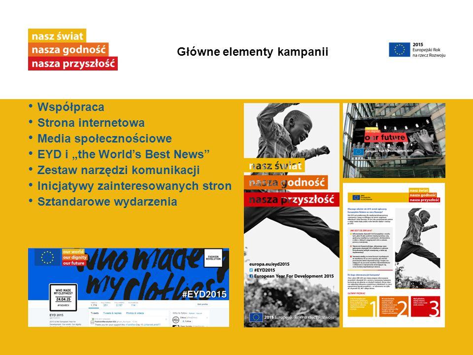 """Współpraca Strona internetowa Media społecznościowe EYD i """"the World's Best News"""" Zestaw narzędzi komunikacji Inicjatywy zainteresowanych stron Sztand"""