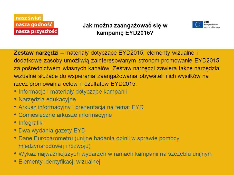 Zestaw narzędzi – materiały dotyczące EYD2015, elementy wizualne i dodatkowe zasoby umożliwią zainteresowanym stronom promowanie EYD2015 za pośrednict