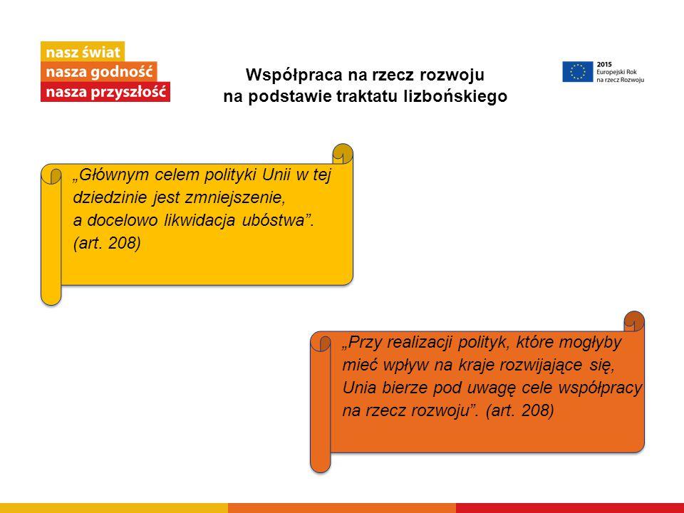 """Współpraca na rzecz rozwoju na podstawie traktatu lizbońskiego """"Głównym celem polityki Unii w tej dziedzinie jest zmniejszenie, a docelowo likwidacja"""