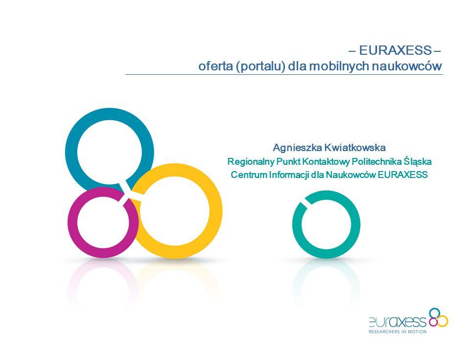 – EURAXESS – oferta (portalu) dla mobilnych naukowców Agnieszka Kwiatkowska Regionalny Punkt Kontaktowy Politechnika Śląska Centrum Informacji dla Naukowców EURAXESS