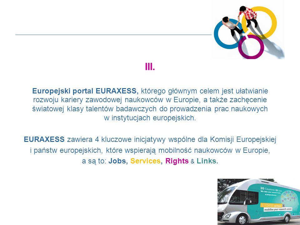 III. Europejski portal EURAXESS, którego głównym celem jest ułatwianie rozwoju kariery zawodowej naukowców w Europie, a także zachęcenie światowej kla