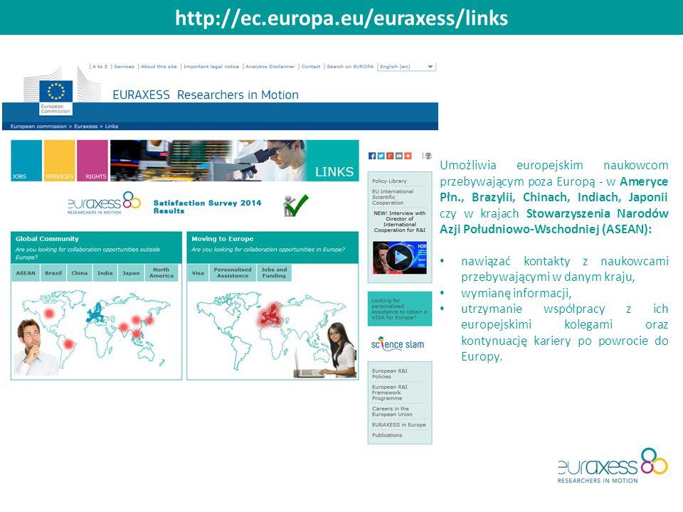 http://ec.europa.eu/euraxess/links Umożliwia europejskim naukowcom przebywającym poza Europą - w Ameryce Płn., Brazylii, Chinach, Indiach, Japonii czy w krajach Stowarzyszenia Narodów Azji Południowo-Wschodniej (ASEAN): nawiązać kontakty z naukowcami przebywającymi w danym kraju, wymianę informacji, utrzymanie współpracy z ich europejskimi kolegami oraz kontynuację kariery po powrocie do Europy.