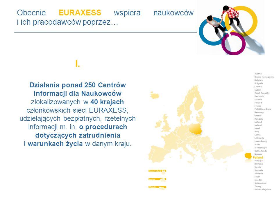 I. Działania ponad 250 Centrów Informacji dla Naukowców zlokalizowanych w 40 krajach członkowskich sieci EURAXESS, udzielających bezpłatnych, rzetelny