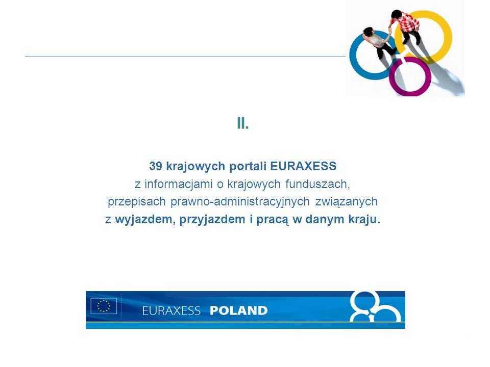 II. 39 krajowych portali EURAXESS z informacjami o krajowych funduszach, przepisach prawno-administracyjnych związanych z wyjazdem, przyjazdem i pracą