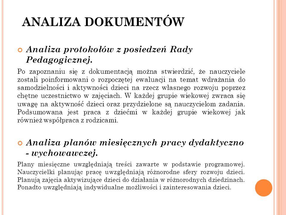 ANALIZA DOKUMENTÓW Analiza protokołów z posiedzeń Rady Pedagogicznej.