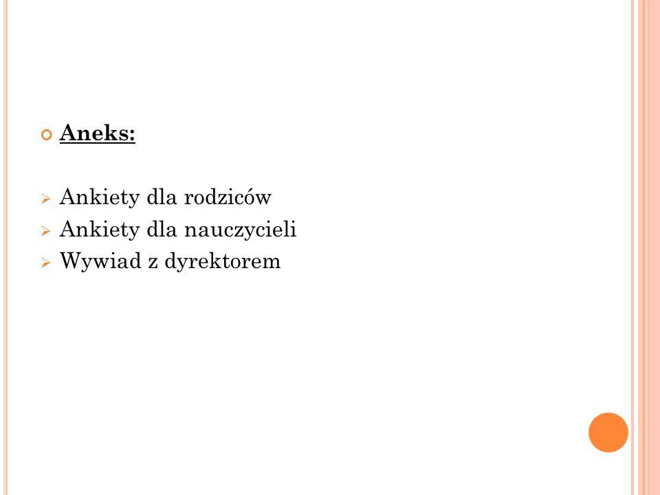 Aneks:  Ankiety dla rodziców  Ankiety dla nauczycieli  Wywiad z dyrektorem
