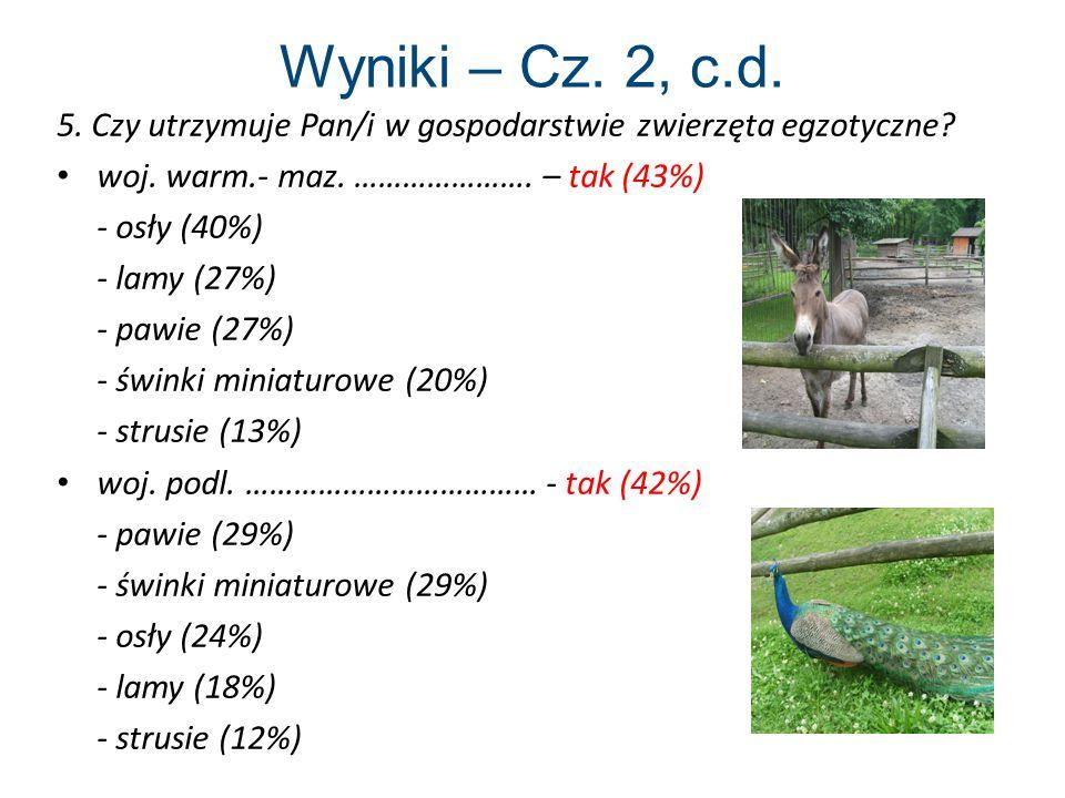 Wyniki – Cz.2, c.d. 5. Czy utrzymuje Pan/i w gospodarstwie zwierzęta egzotyczne.