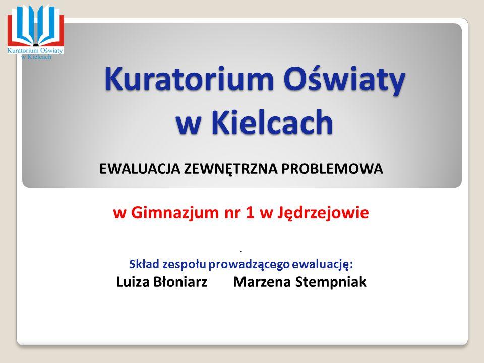Kuratorium Oświaty w Kielcach EWALUACJA ZEWNĘTRZNA PROBLEMOWA w Gimnazjum nr 1 w Jędrzejowie. Skład zespołu prowadzącego ewaluację: Luiza Błoniarz Mar
