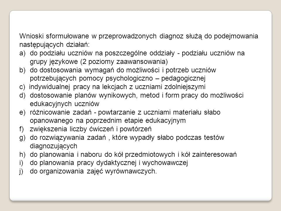 Wnioski sformułowane w przeprowadzonych diagnoz służą do podejmowania następujących działań: a)do podziału uczniów na poszczególne oddziały - podziału