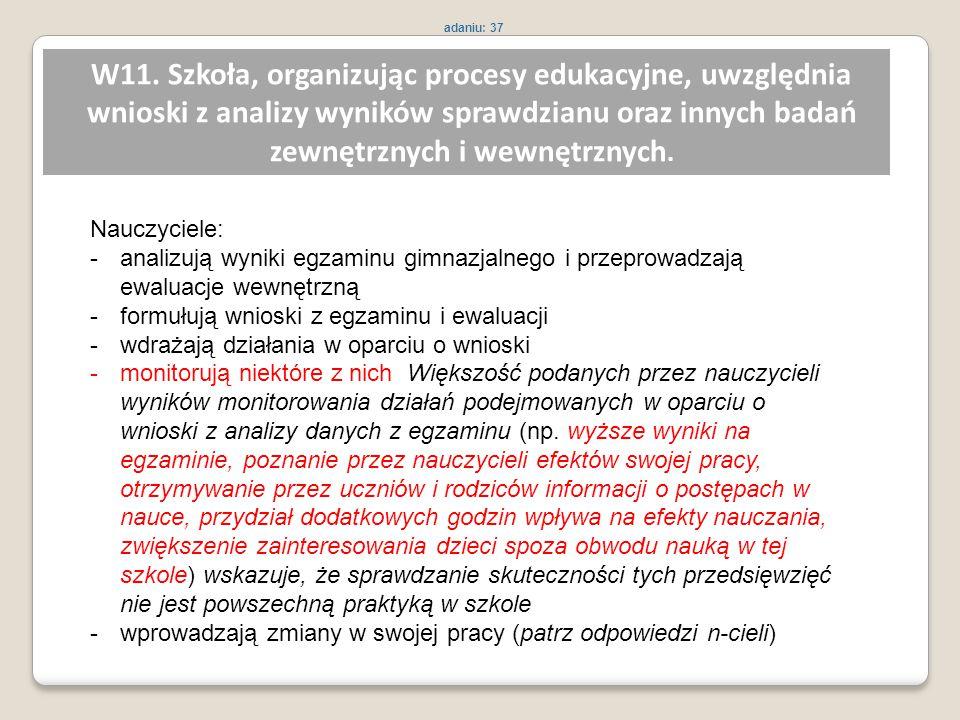 W11. Szkoła, organizując procesy edukacyjne, uwzględnia wnioski z analizy wyników sprawdzianu oraz innych badań zewnętrznych i wewnętrznych. Nauczycie