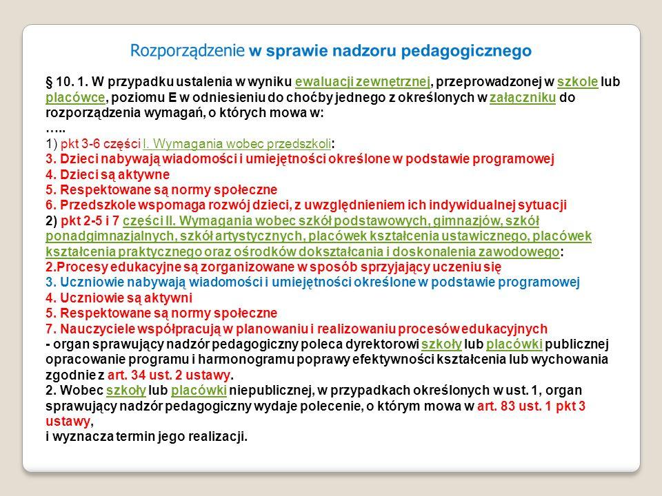 § 10. 1. W przypadku ustalenia w wyniku ewaluacji zewnętrznej, przeprowadzonej w szkole lub placówce, poziomu E w odniesieniu do choćby jednego z okre