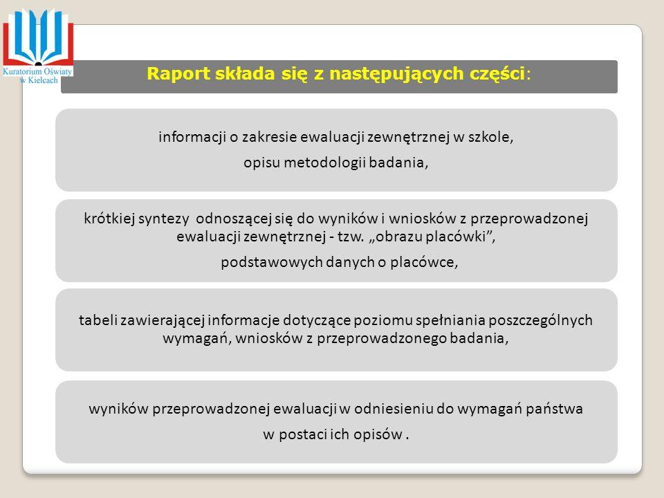 Raport składa się z następujących części: informacji o zakresie ewaluacji zewnętrznej w szkole, opisu metodologii badania, krótkiej syntezy odnoszącej