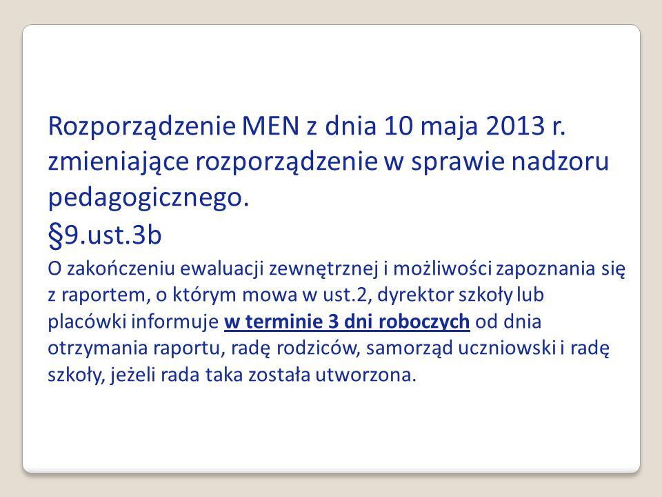 Rozporządzenie MEN z dnia 10 maja 2013 r. zmieniające rozporządzenie w sprawie nadzoru pedagogicznego. §9.ust.3b O zakończeniu ewaluacji zewnętrznej i