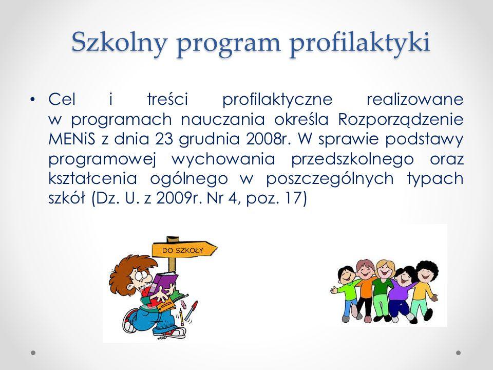 Szkolny program profilaktyki Cel i treści profilaktyczne realizowane w programach nauczania określa Rozporządzenie MENiS z dnia 23 grudnia 2008r. W sp