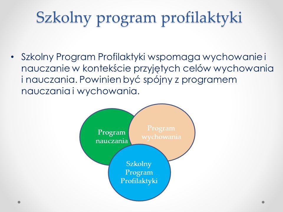 Szkolny program profilaktyki Szkolny Program Profilaktyki wspomaga wychowanie i nauczanie w kontekście przyjętych celów wychowania i nauczania. Powini