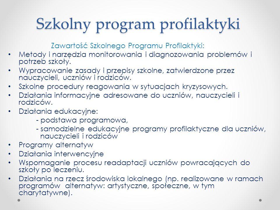 Szkolny program profilaktyki Zawartość Szkolnego Programu Profilaktyki: Metody i narzędzia monitorowania i diagnozowania problemów i potrzeb szkoły. W