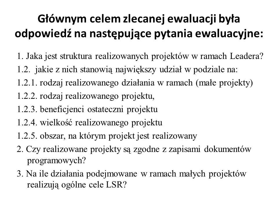 Głównym celem zlecanej ewaluacji była odpowiedź na następujące pytania ewaluacyjne: 1. Jaka jest struktura realizowanych projektów w ramach Leadera? 1