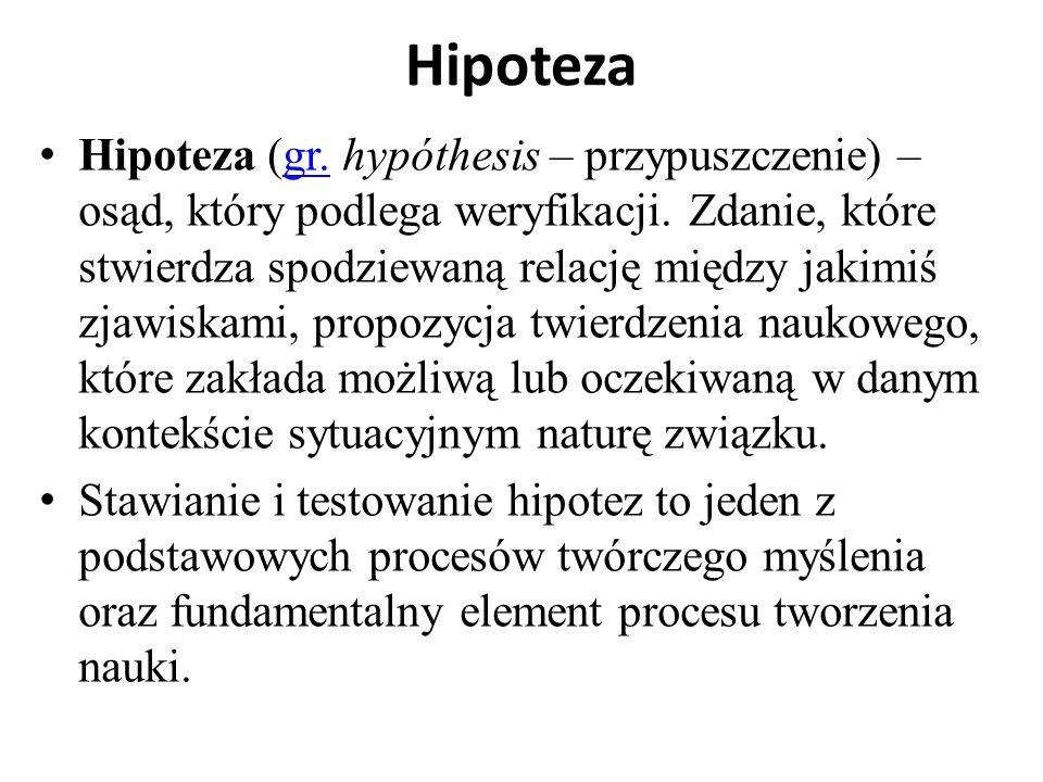 Hipoteza Hipoteza (gr. hypóthesis – przypuszczenie) – osąd, który podlega weryfikacji. Zdanie, które stwierdza spodziewaną relację między jakimiś zjaw