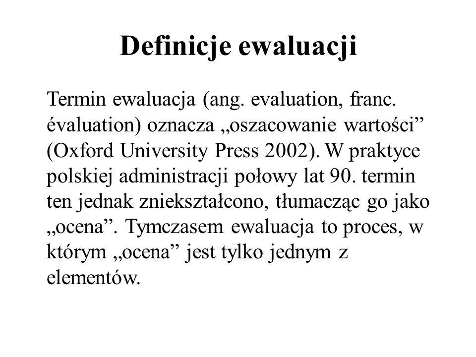 """Definicje ewaluacji Termin ewaluacja (ang. evaluation, franc. évaluation) oznacza """"oszacowanie wartości"""" (Oxford University Press 2002). W praktyce po"""