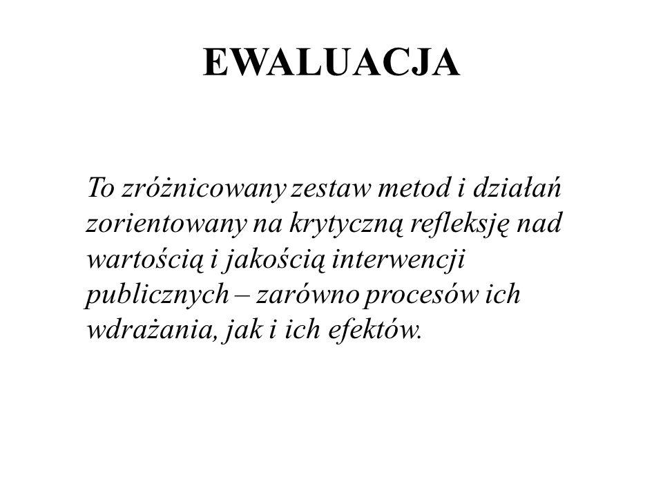 EWALUACJA To zróżnicowany zestaw metod i działań zorientowany na krytyczną refleksję nad wartością i jakością interwencji publicznych – zarówno proces