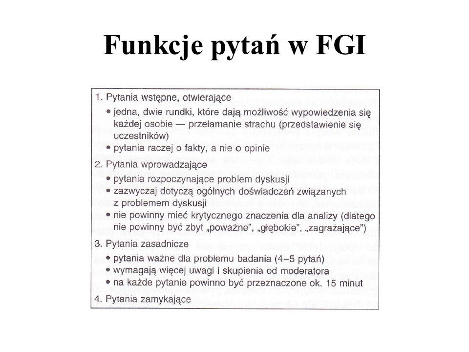 Funkcje pytań w FGI