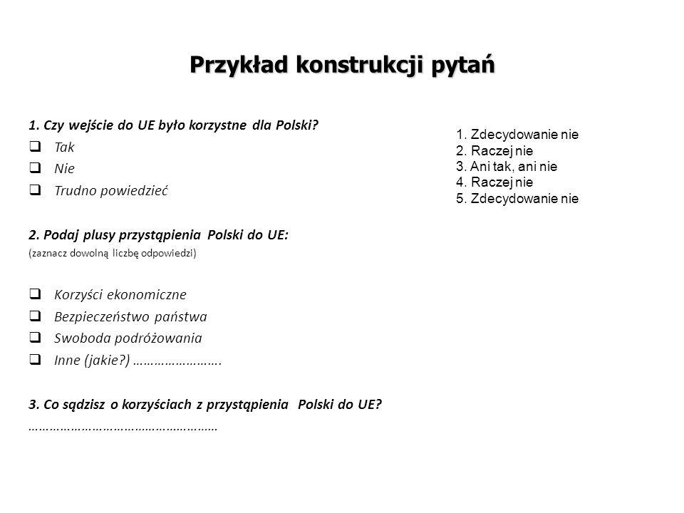 Przykład konstrukcji pytań 1. Czy wejście do UE było korzystne dla Polski?  Tak  Nie  Trudno powiedzieć 2. Podaj plusy przystąpienia Polski do UE: