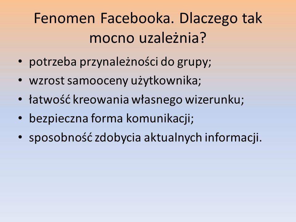 Fenomen Facebooka. Dlaczego tak mocno uzależnia? potrzeba przynależności do grupy; wzrost samooceny użytkownika; łatwość kreowania własnego wizerunku;