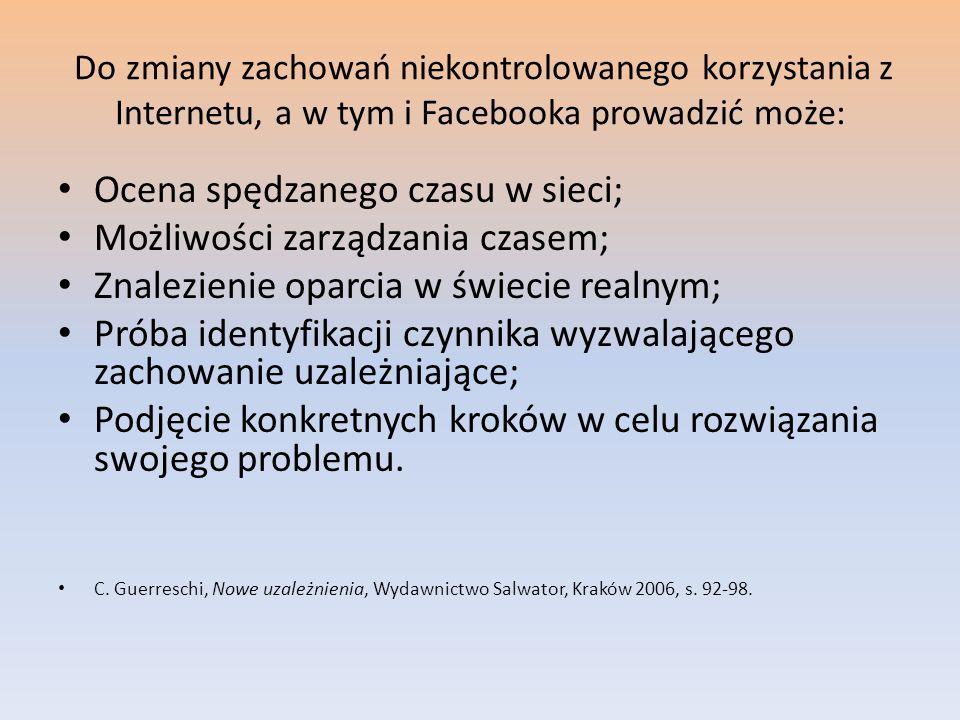 Do zmiany zachowań niekontrolowanego korzystania z Internetu, a w tym i Facebooka prowadzić może: Ocena spędzanego czasu w sieci; Możliwości zarządzan